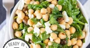 Chickpea Spinach Salad, ready in 7 minutes, high in protein and fiber. Perfect for a quick lunch!| hurrythefoodup.com