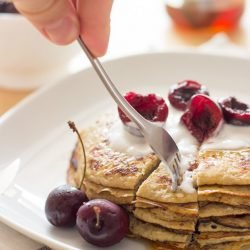 This world's simplest pancakes recipe contains just two ingredients (egg and banana) and is super quick - just minutes from bowl to plate! Simple and tasty. | hurrythefoodup.com