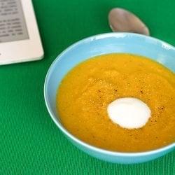 Jenny's Secret Carrot and Red Lentil Soup serving | hurrythefoodup.com