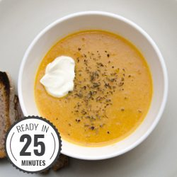 Red Lentil Soup - six ingredients, 30g of protein per bowl. Tasty and high in fiber too | hurrythefoodup.com
