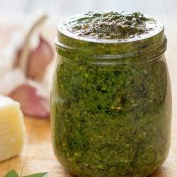 Basil pesto in the jar | hurrythefoodup.com