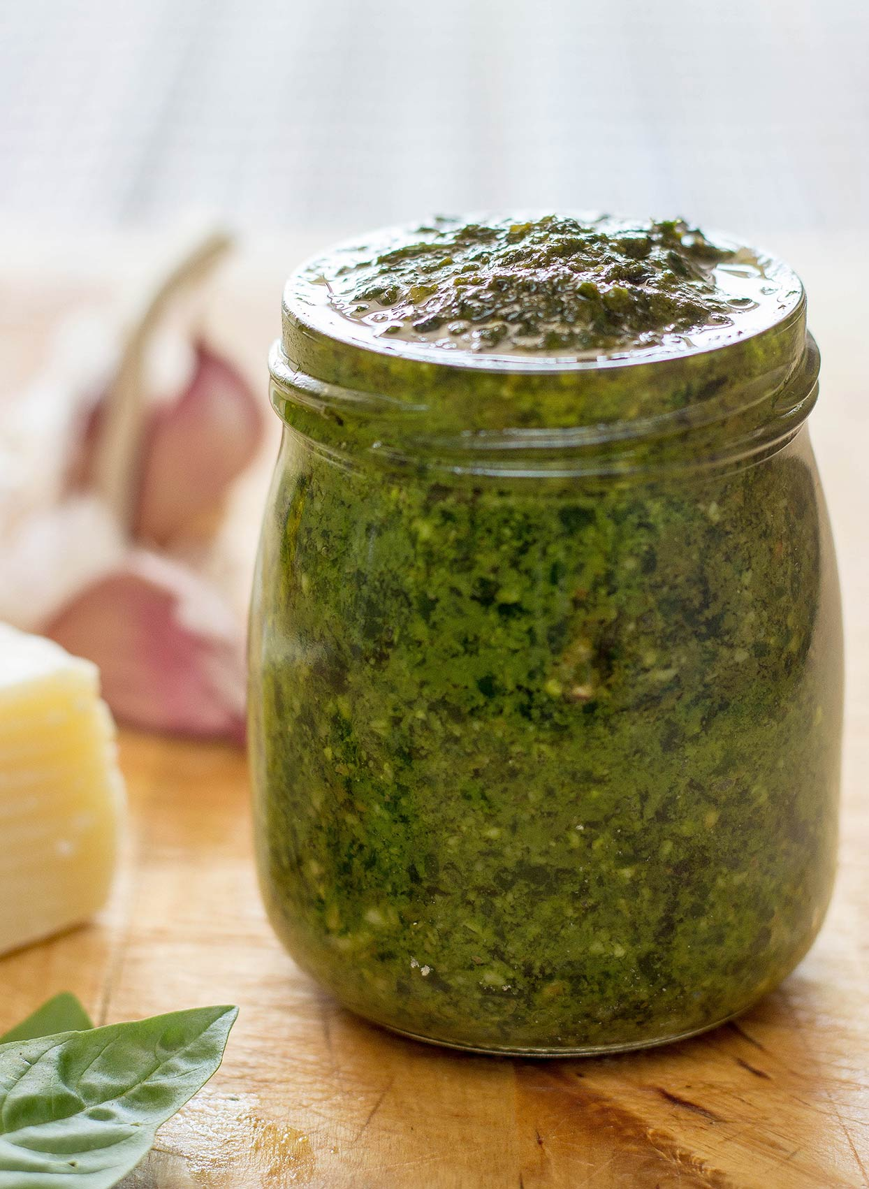 Basil pesto in the jar | hurrythefoodup.com
