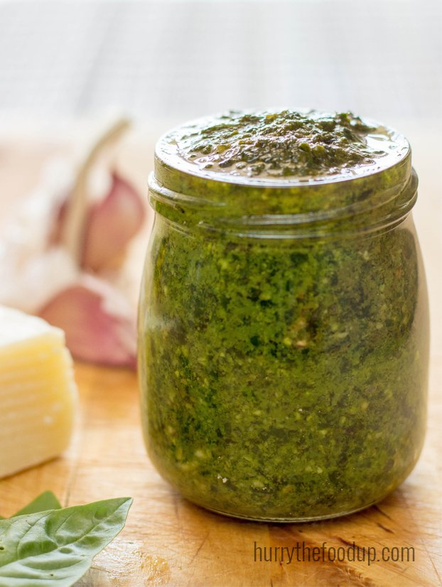 Easy to make basil pesto - the perfect partner for any pasta! Spice up your cooking life with this Italian treat. | hurrythefoodup.com