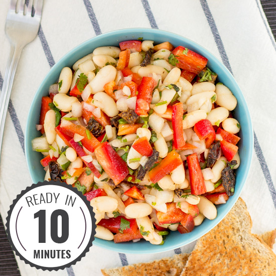 High Protein White Bean Salad | Ready in 10 Mins and Vegan!