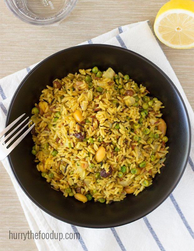 A zesty, tasty Pea Pulao that's really quick and easy to make.| hurrythefoodup.com