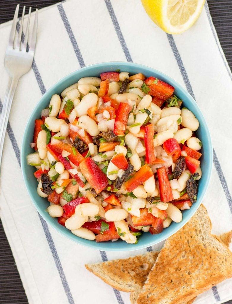 High Protein White Bean Salad | hurrythefoodup.com