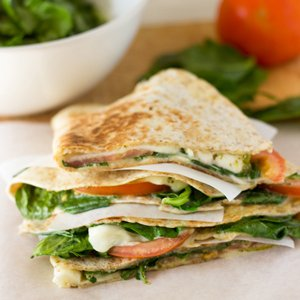 Treat yourself right - easy to make tomato, cheese, spinach and pesto quesadillas. Ready in just a few minutes - what are you waiting for?  hurrythefoodup.com