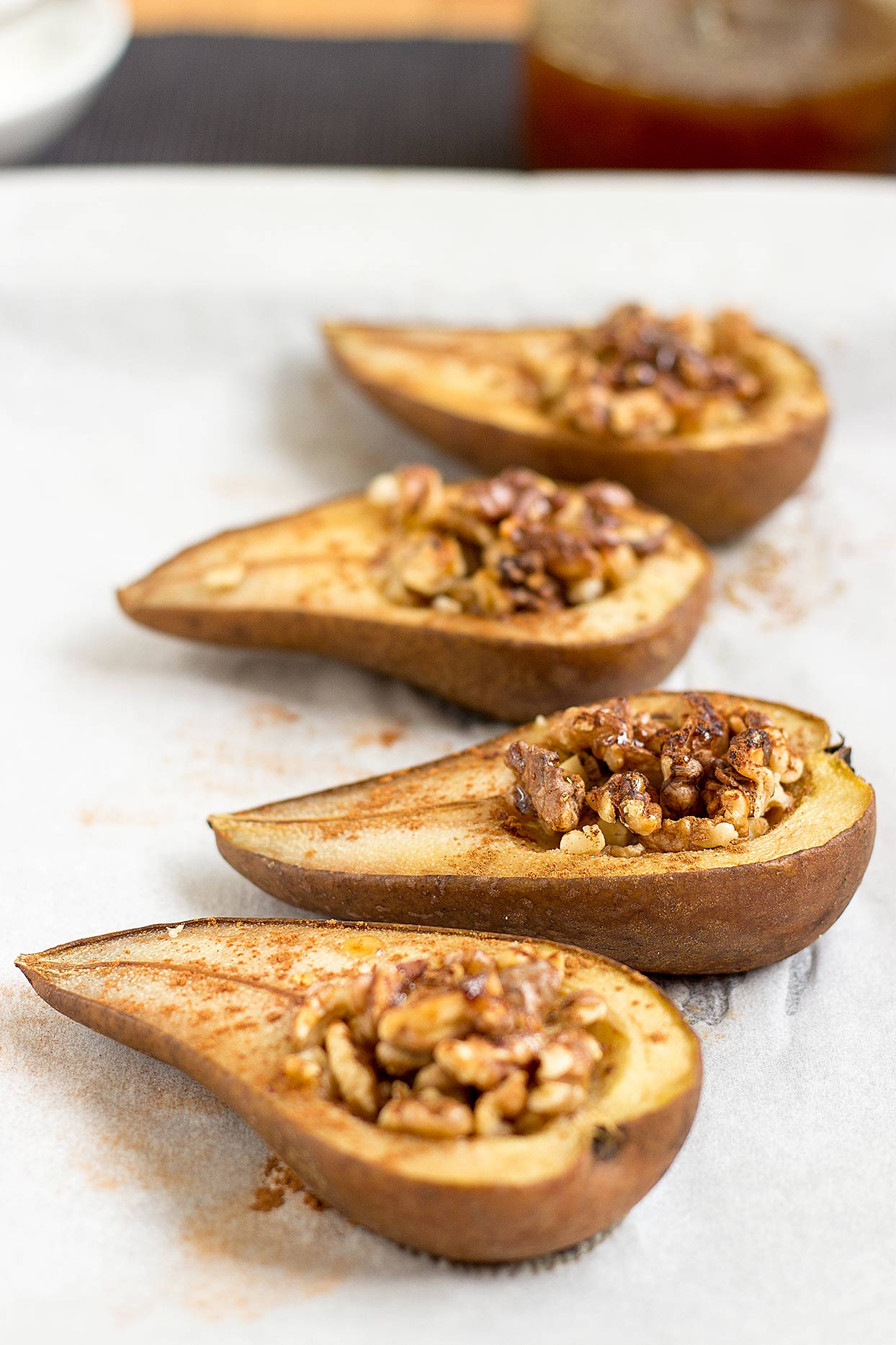 The cinnamon baked pears are cooked and on the table