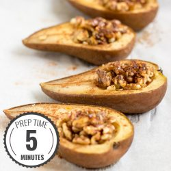 Easy Baked Pears. Prep Time 5 minutes, Bake Time 25 minutes | #dessert #vegetarian | hurrythefoodup.com