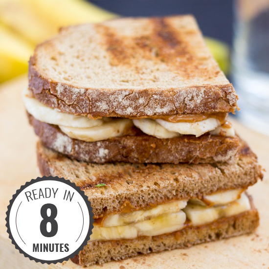 Anti Hangover Peanut Butter Banana Sandwich. Ready in 8 mins. | #hangover #vegan | hurrythefoodup.com