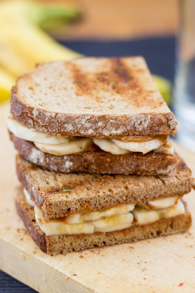 Anti Hangover Peanut Butter Banana Sandwich. Ready in 8 mins.   #hangover #vegan   hurrythefoodup.com