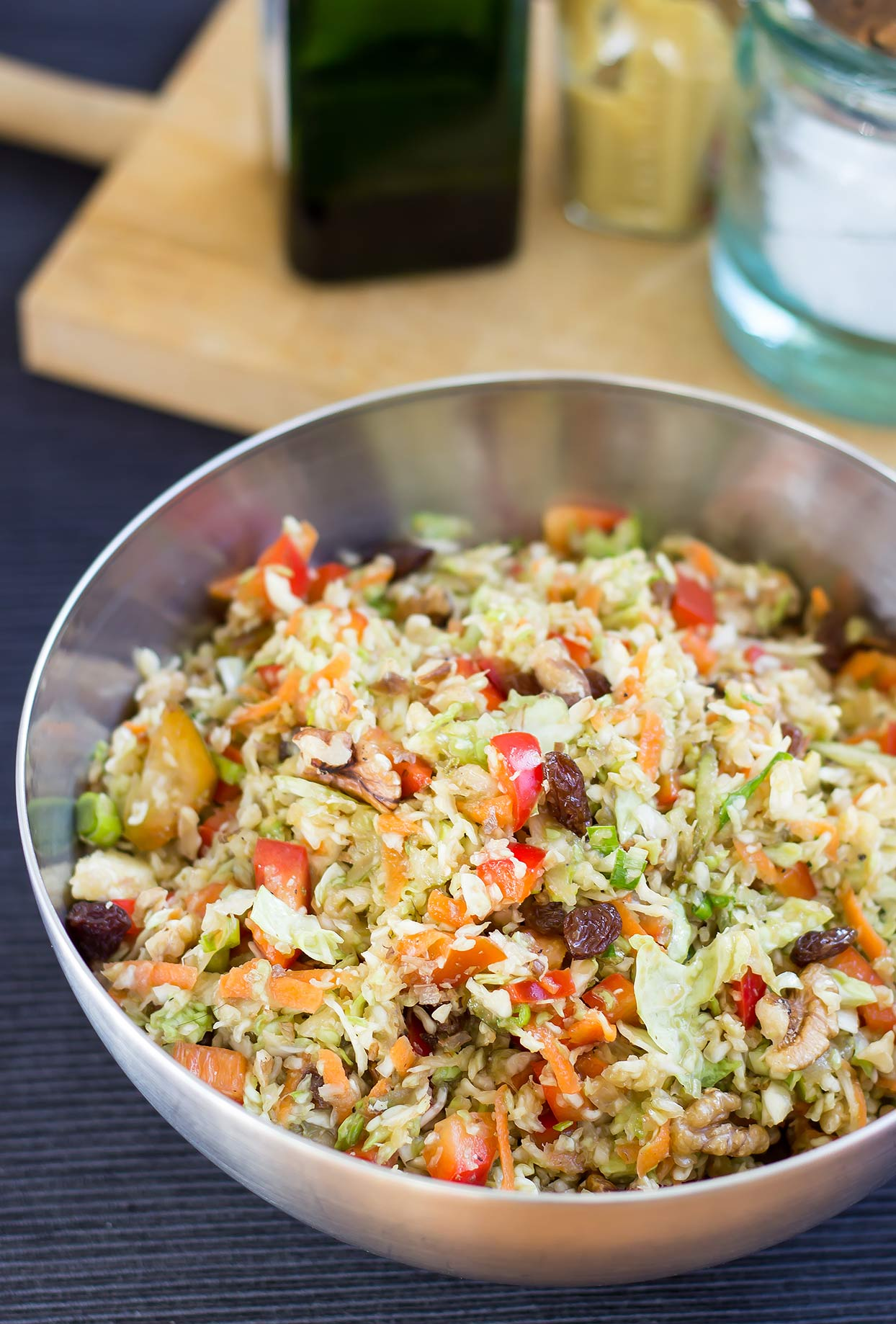 Colourful Christmas Slaw. Ready in 20 mins. | #sidedish #vegan | hurrythefoodup.com