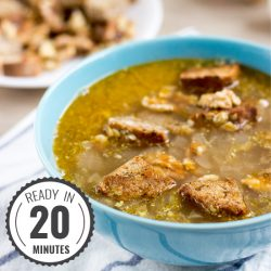 Awesome and lightning quick red onion soup. Ready in 20 minutes | #dinner #vegan | hurrythefoodup.com