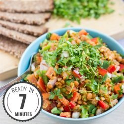 Turkish Lentil Salad. Ready in 7 minutes | #lunch #vegan | hurrythefoodup.com