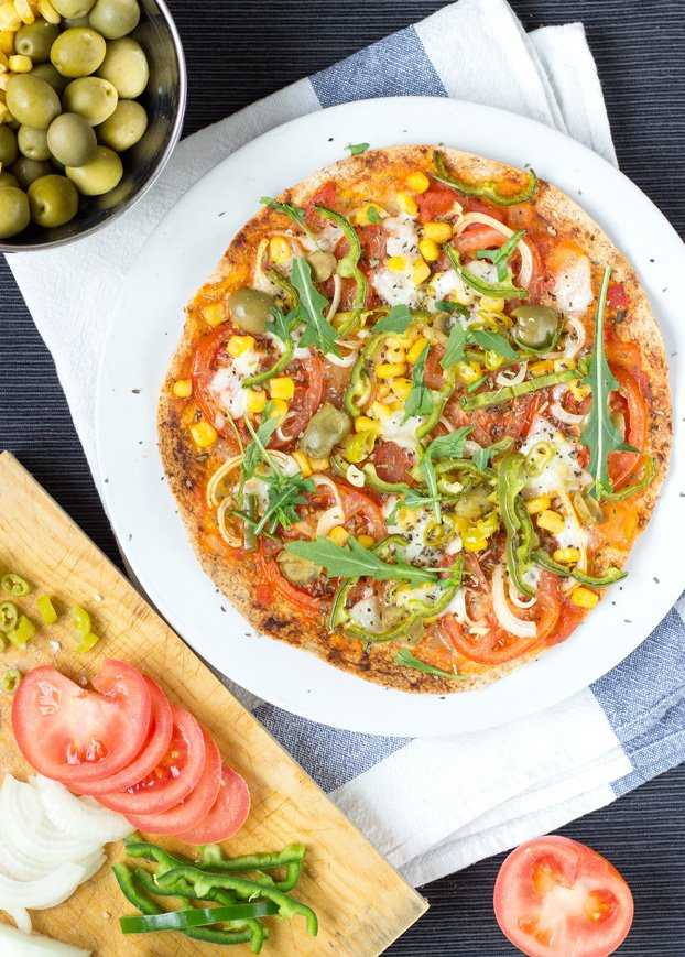 Crispy Tortilla Pizza 25 Min Vegetarian Hurry The Food Up