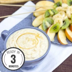 High Protein Yogurt and Peanut Butter Dip. Perfect with fruit. Ready in 3 minutes | #fruit #dip | hurrythefoodup.com