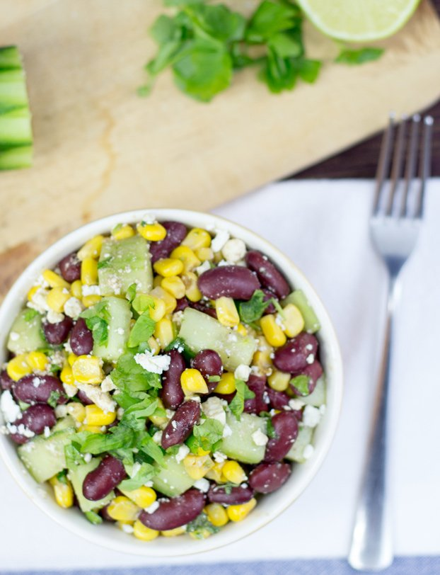 High Protein Kidney Bean Salad. Greek And American Cuisine In One Bowl #salad #vegetarian | hurrythefoodup.com