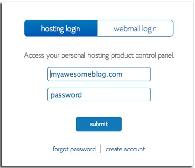 Log in to Bluehost How to start a food blog | hurrythefoodup.com