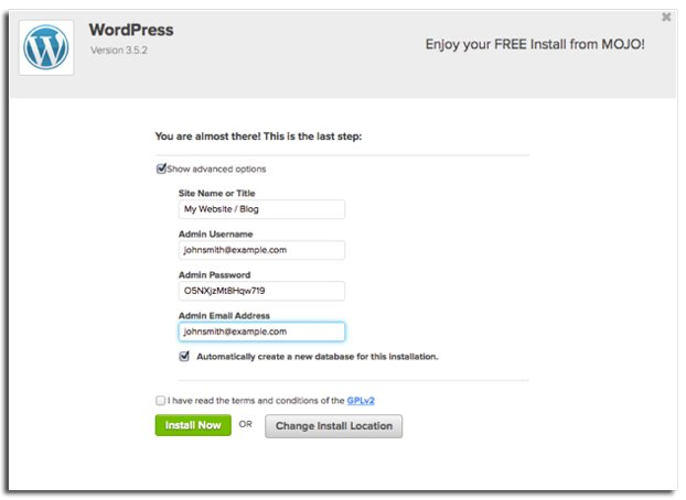 mojo wordpress install How to start a food blog   hurrythefoodup.com