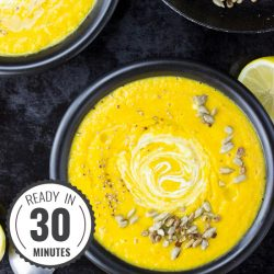 Easy Curried Butternut Squash and Coconut Soup (30 Mins, Vegan) #soup #pumpkin hurrythefoodup.com