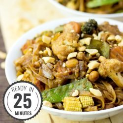Easy Vegetable Stir Fry with Creamy Peanut Sauce #stirfry #peanut #vegan | hurrythefoodup.com