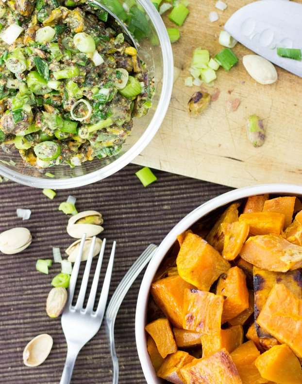 Roasted Sweet Potato Cubes with a Piquant Pistachio Dressing #sweetpotato #vegan #vegetarian | hurrythefoodup.com