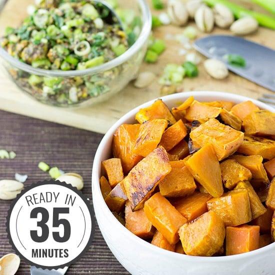 Roasted Sweet Potato Cubes with a Piquant Pistachio Dressing #sweetpotato #vegan #vegetarian | hurrythefoodup.com
