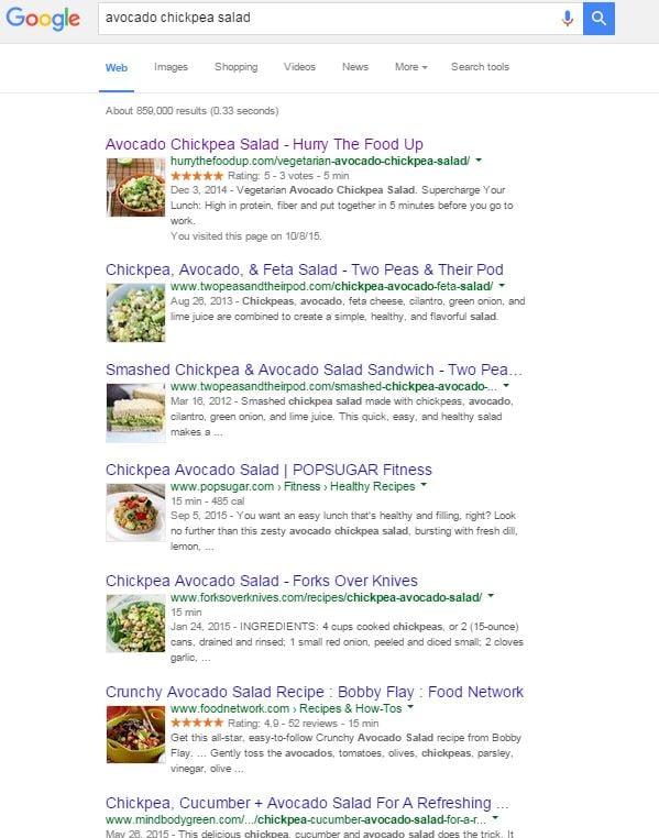 avocado chickpea salad results