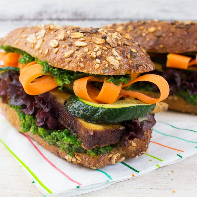 10. Tofu and Kale Pesto Sandwich - 18 vegetarian lunch ideas