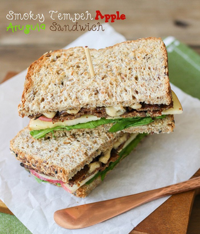 2. Smoky Tempeh, Apple, and Arugula Sandwich - 18 vegetarian lunch ideas