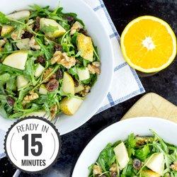 Crunchy Pear Walnut Salad with a Mustard Orange Dressing #vegan #salad | hurrythefoodup.com