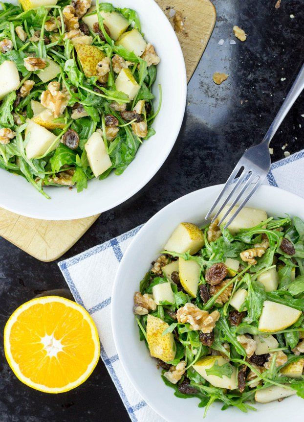 Pear Walnut Salad With A Mustard Orange Dressing