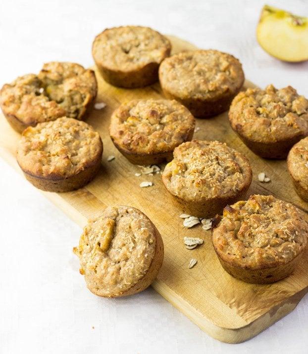 Irresistible Vegan Banana Muffins with Sweet Apple Chunks #vegan #vegetarian #banana   hurrythefoodup.com