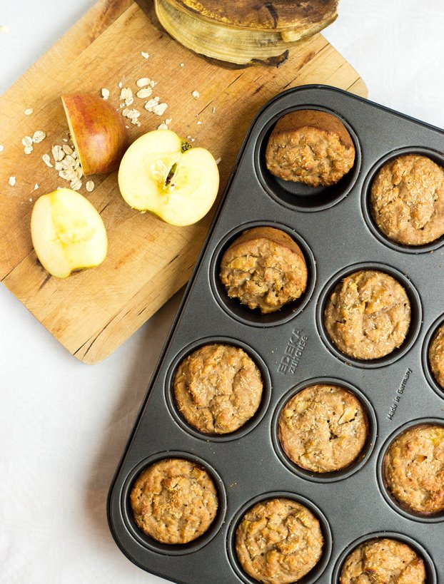 Irresistible Vegan Banana Muffins with Sweet Apple Chunks #vegan #vegetarian #banana | hurrythefoodup.com