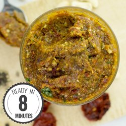Red Pesto with sun-dried Tomatoes and Basil #vegan #pesto | hurrythefoodup.com