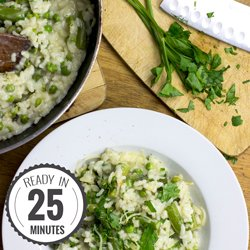 Creamy Asparagus Risotto. Quick to make, so satisfying and tasty to eat. We've also included the key surprisingly easy tips to getting the perfect risotto. | hurrythefoodup.com