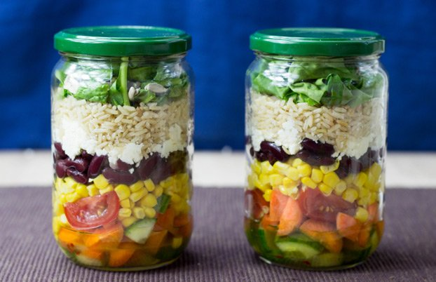 Vegetarian salad jars