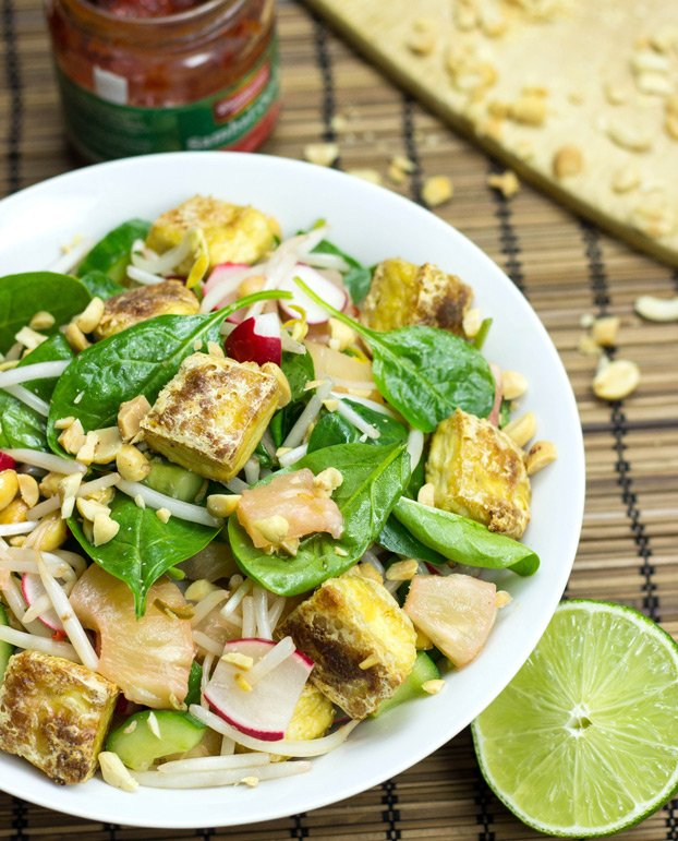 Crispy Tofu Salad High In Protein Low Carb And Vegan