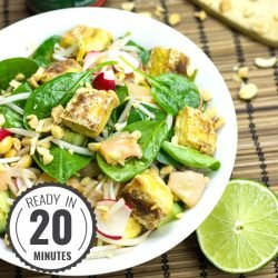 Crispy Tofu Salad, High in Protein, Low-carb and Vegan | hurrythefoodup.com