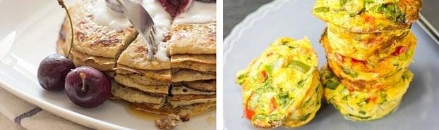 vegetarian pancakes and breakfast egg muffins
