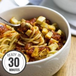Vegan Tofu Bolognese - It was about time we veganized this Italian classic! | hurrythefoodup.com