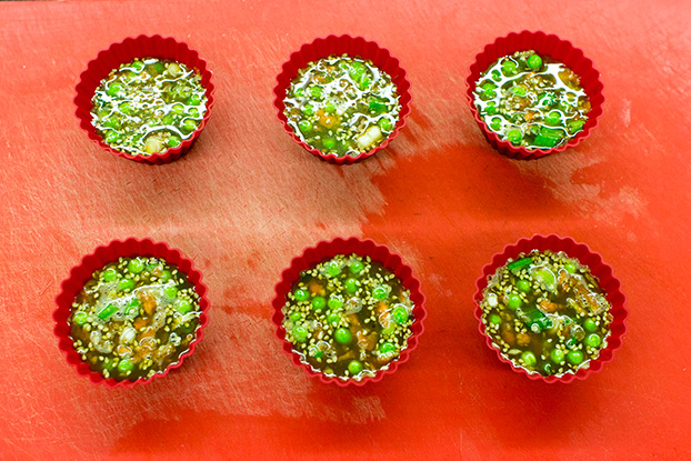 Asian-Style Easy Egg Muffins - muffins are ready for baking in the oven #sesame seeds #soy sauce | hurrythefoodup.com