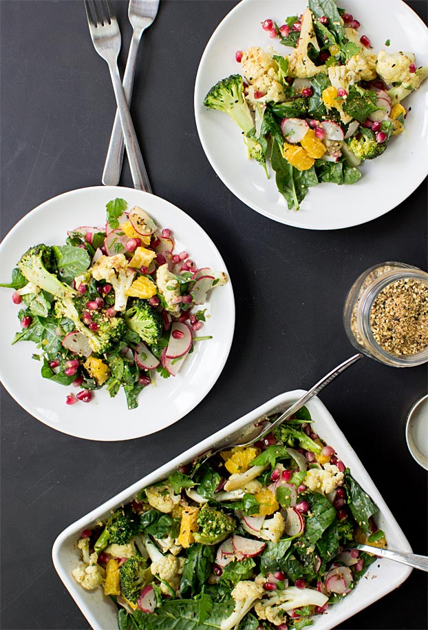 Roasted Broccoli and Cauliflower Salad - The New Superdish | hurrythefoodup.com