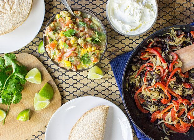 Mexican Vegetarian Tacos - Authentically Awesome - vegetarian tacos table setup #fiber #easy | hurrythefoodup.com