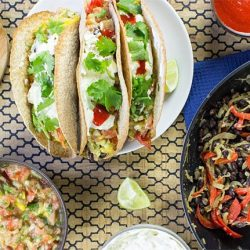 Mexican Vegetarian Tacos - Authentically Awesome - wrapped vegetarian tacos # cream cheese #easy | hurrythefoodup.com