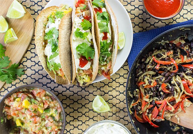 Mexican Vegetarian Tacos - Authentically Awesome - wrapped vegetarian tacos #cream cheese #easy | hurrythefoodup.com