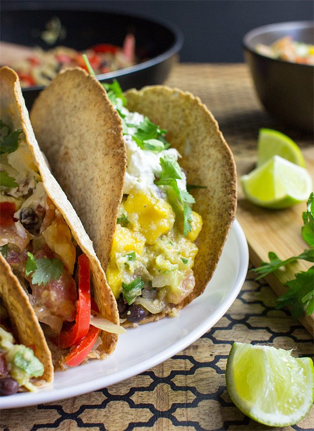 Mexican Vegetarian Tacos - Authentically Awesome - vegetarian tacos ready to serve #vegetarian #tortillas | hurrythefoodup.com