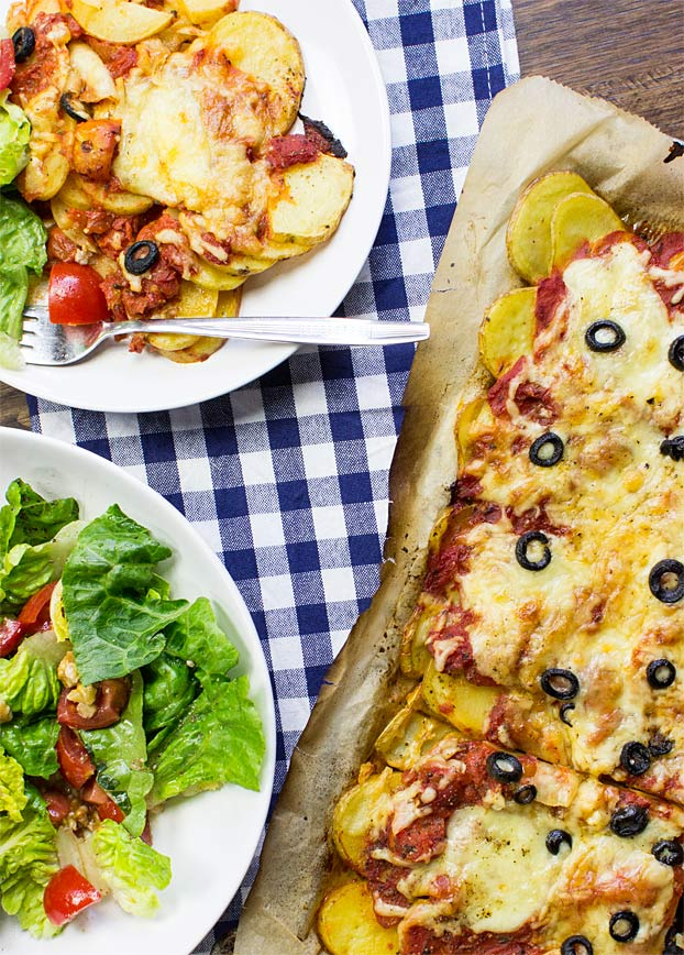 Perfect Pizza Potatoes - Gluten-Free Pizza - pizza potatoes on a table #gluten-free | hurrythefoodup.com