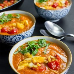 Pimped Vegan Tomato Soup - Not just your regular soup - tomato soup ready to serve #soup #tomato | hurrythefoodup.com