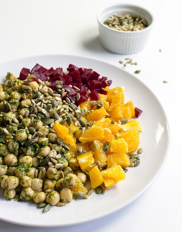 Vegan Chickpea Summer Salad - Refreshing, Innovative, Ready in 15 mins - chickpea salad ready to serve #beetroot #orange | hurrythefoodup.com